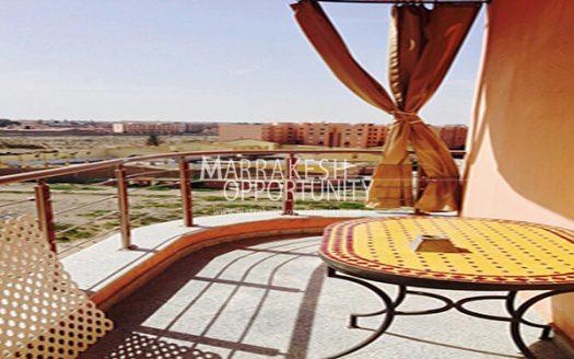 Location appartement, Idéalement situé au centre de la nouvelle ville de Marrakech « Guéliz » proche de tous commerces (Loisirs & Shopping), dans une résidence calme et sécurisée de standing avec piscine,